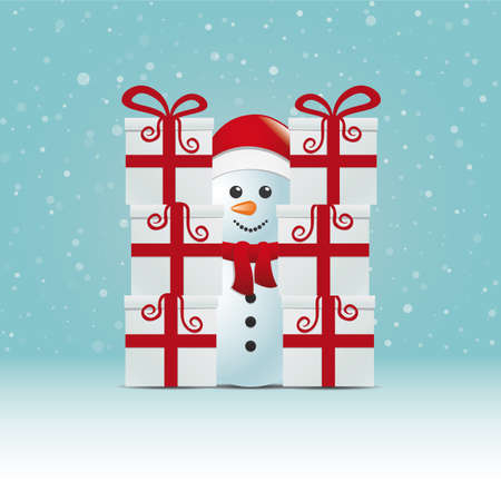 snowman behind gift stack snowy winter background Vector