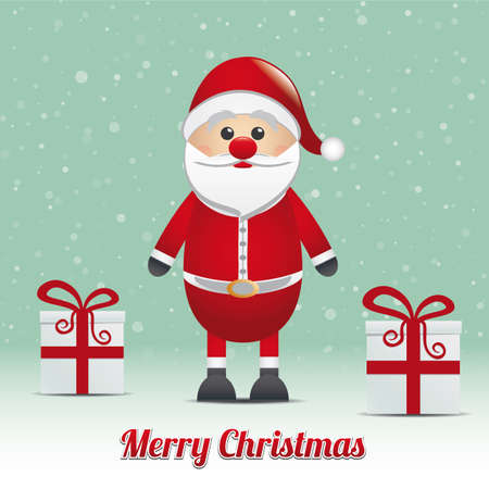 santa gift snowy winter background merry christmas Vector