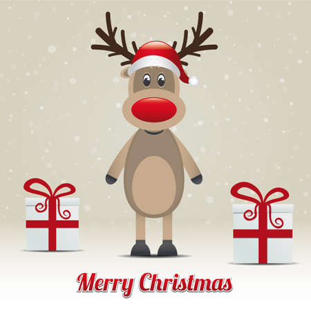 wish: reindeer gift snowy winter background merry christmas