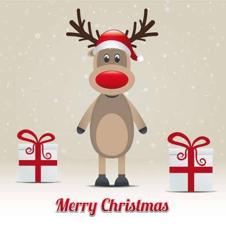 reindeer christmas: reno regalo nevado invierno de fondo Feliz Navidad Vectores