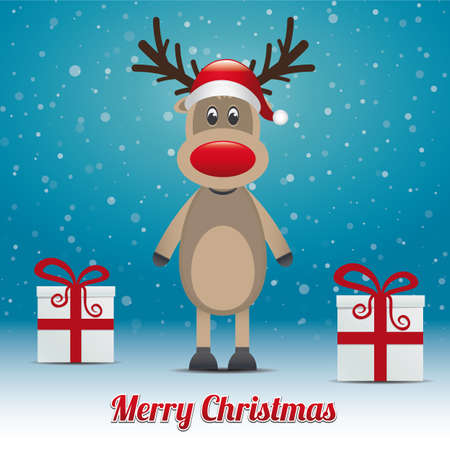 reindeer gift snowy winter background merry christmas Vector