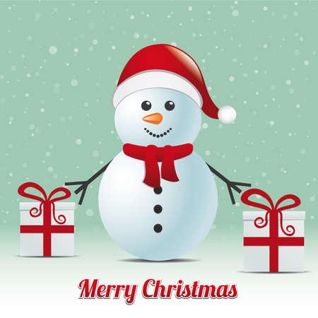 bonhomme de neige cadeau hiver fond joyeux noël
