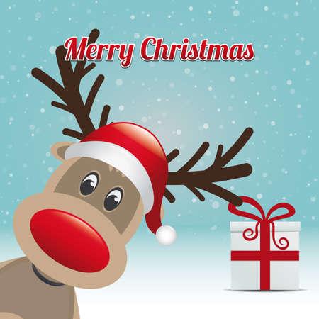 reindeer gift snowy winter background merry christmas Vector
