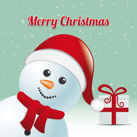 snowman gift snowy winter background merry christmas Vector