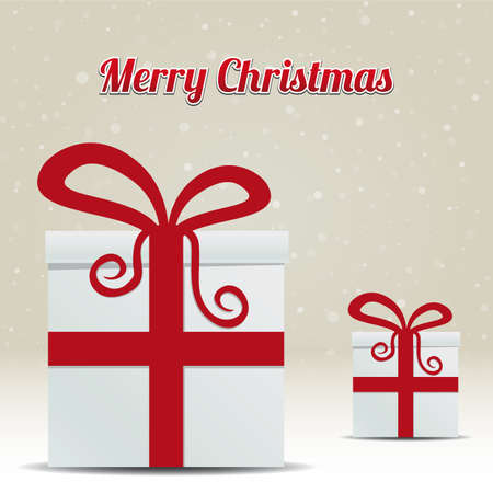 gift box snowy winter background merry christmas