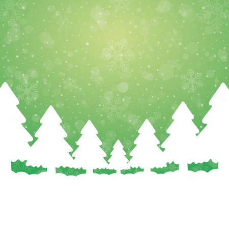 tree snowflake snow stars green white background Stock Vector - 16469443