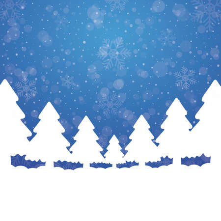tree snowflake snow stars blue white background Stock Vector - 16469425