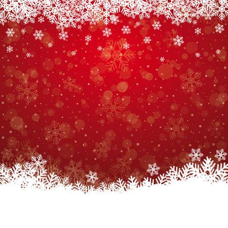 bolas de nieve: copo de nieve cae estrellas rojas fondo blanco Vectores