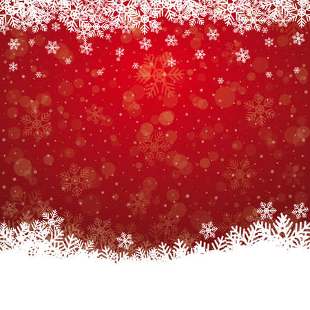 boule de neige: flocon de neige tombent �toiles rouges sur fond blanc