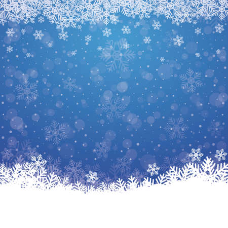 fall snowflake snow stars blue white background Vector