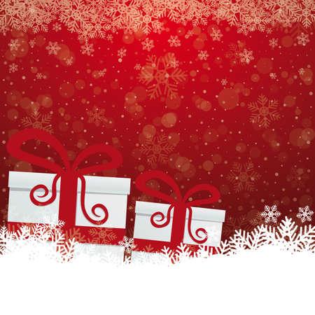 jewel box: gift snowflake snow stars red white background