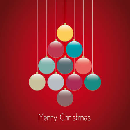 christmas balls tree hang twine red background Vector