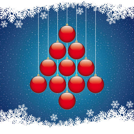 christmas balls tree winter snowflake blue background Stock Vector - 16567695