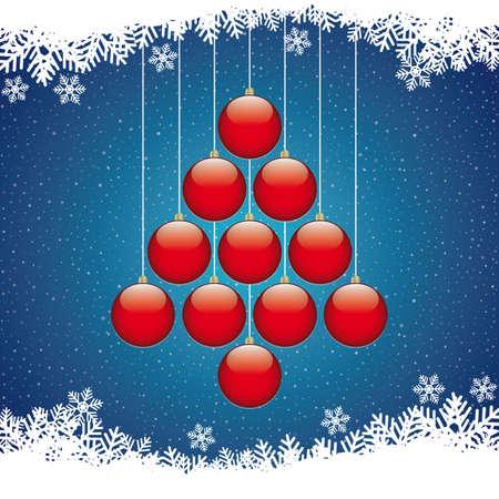 christmas balls tree winter snowflake blue background Stock Vector - 16567695