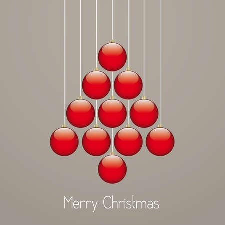 christmas balls tree hang twine brown background Vector