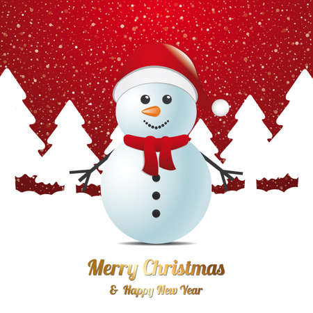 winter wish: snowman winter snow tree landscape red white