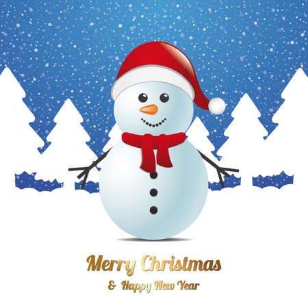 snowman winter snow tree landscape blue white Vector