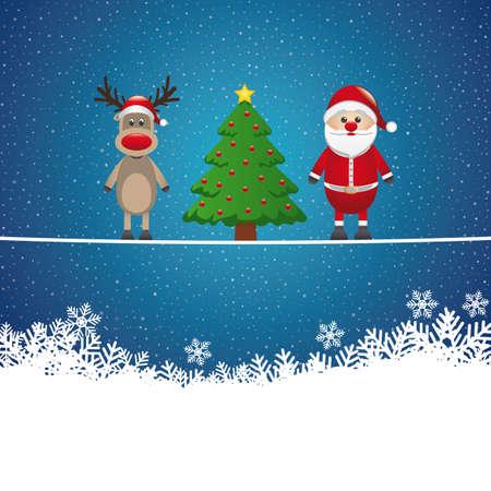 santa reindeer tree on twine snowy background Stock Vector - 16804007
