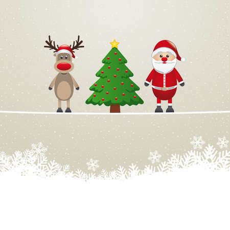 santa reindeer tree on twine snowy background Stock Vector - 16804005