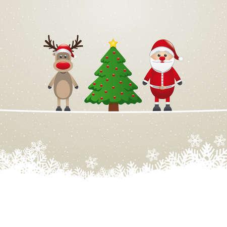 nosed: santa reindeer tree on twine snowy background Illustration