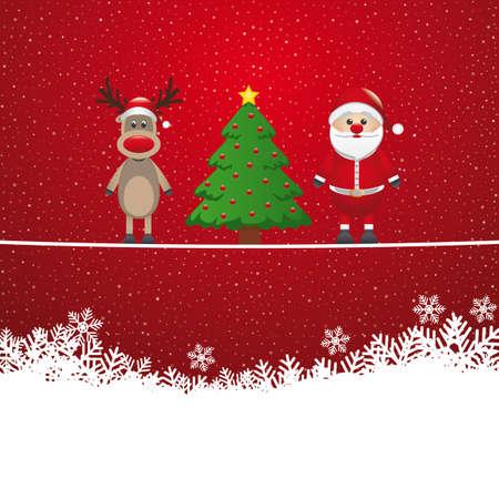 twine: santa reindeer tree on twine snowy background Illustration