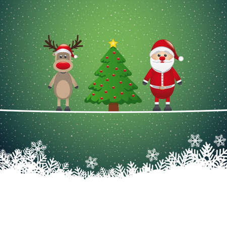 santa reindeer tree on twine snowy background Vector