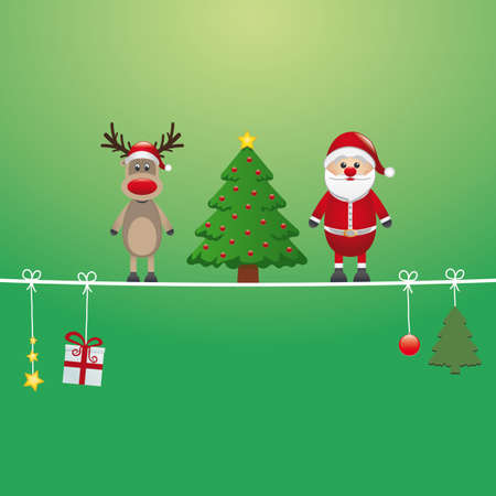 twine: santa reindeer tree on twine green background