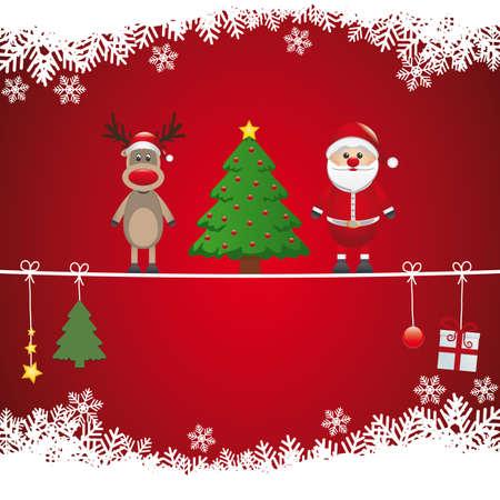 santa reindeer tree on twine snow background Stock Vector - 16803992