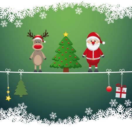 santa reindeer tree on twine snow background Vector