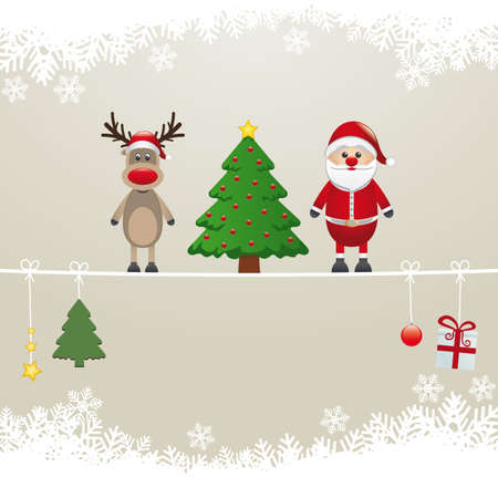 santa reindeer tree on twine snow background Stock Vector - 16803991