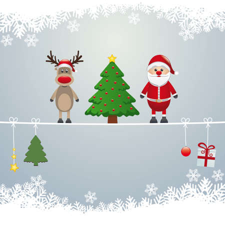 santa reindeer tree on twine snow background Stock Vector - 16803990