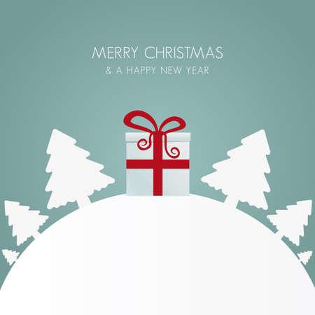 gift box red white christmas tree world Stock Vector - 16804009
