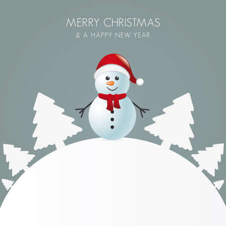 snowman with scarf white tree background world