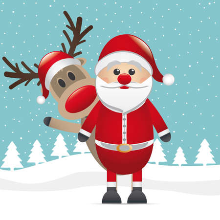 reindeer red nose santa claus winter landscape Vector