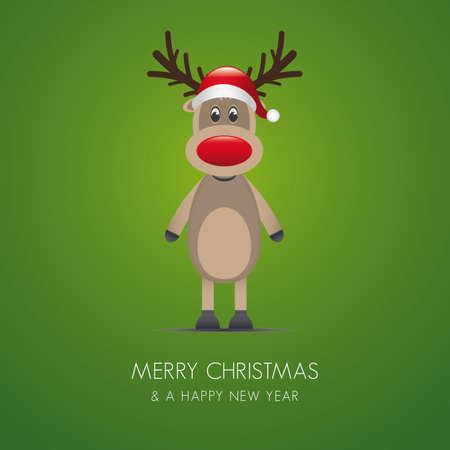 reindeer red nose and santa claus hat Vector