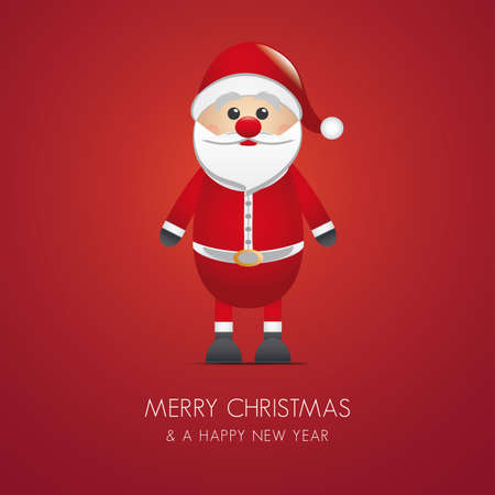 santa claus merry christmas type red background Vector