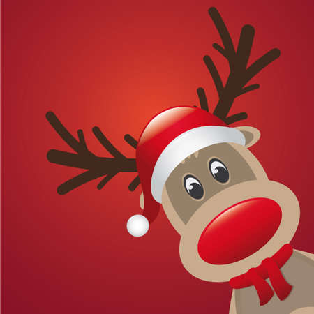 reindeer red nose and hat scarf background Vector