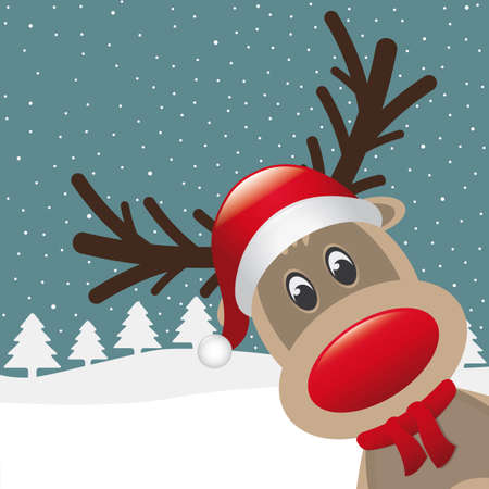 reindeer red nose hat scarf winter landscape Illustration