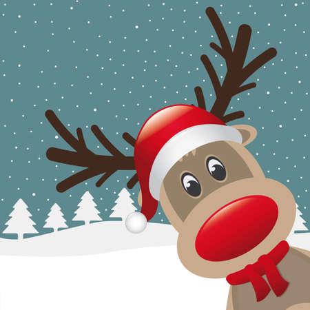renos de navidad: reno nariz roja sombrero bufanda de invierno paisaje Vectores
