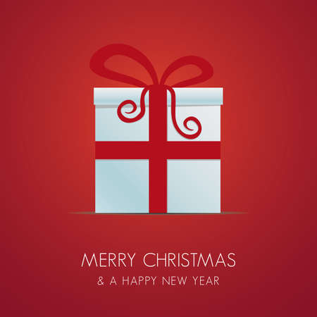 white christmas gift box with red ribbon Vector