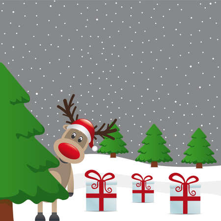 reindeer winter landscape tree and gift boxes Vector