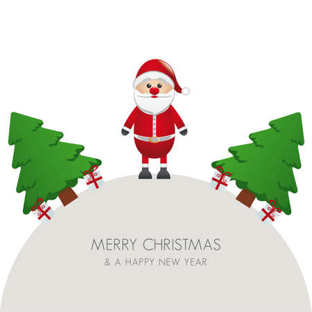 santa claus christmas tree and gift world Stock Vector - 16804020