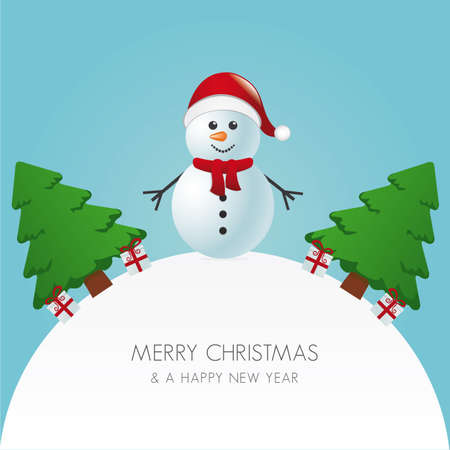 snowman hat christmas tree and gift world Stock Vector - 16804044