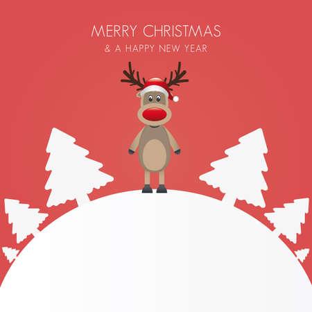 reindeer hat christmas tree white background world Stock Vector - 16804016