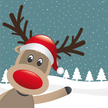 reindeer with santa hat wave winter landscape Vector