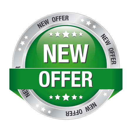 new offer greensilver button isolated background Vector