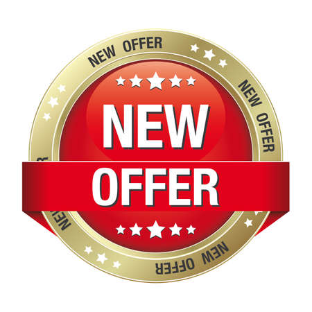 markdown: new offer red gold button isolated background Illustration