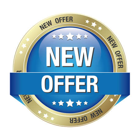 markdown: new offer blue gold button isolated background