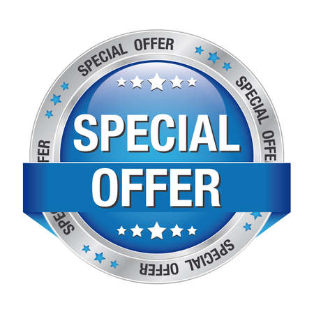 bargain sale: special offer blue silver button isolated background