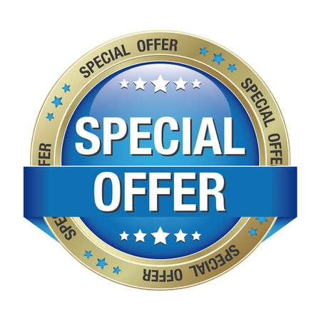 offerta speciale: offerta speciale pulsante blu fondo oro isolato